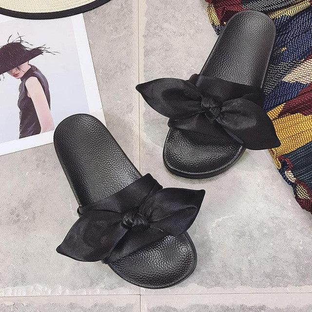 Lotus Jolly Silk Bow Slides Women Summer Beach Shoes Woman No Fur Slippers Flat Heels Flip Flops Ladies Rihanna Bohemia Sandals