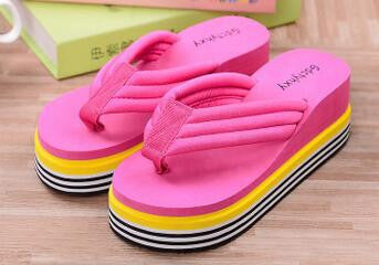 2017 Summer Shoes For Women Stretch Fabric EVA Flip Flops Beach Sandals Casual Wedge Platform Slippers Sandales Talon Femme 1261