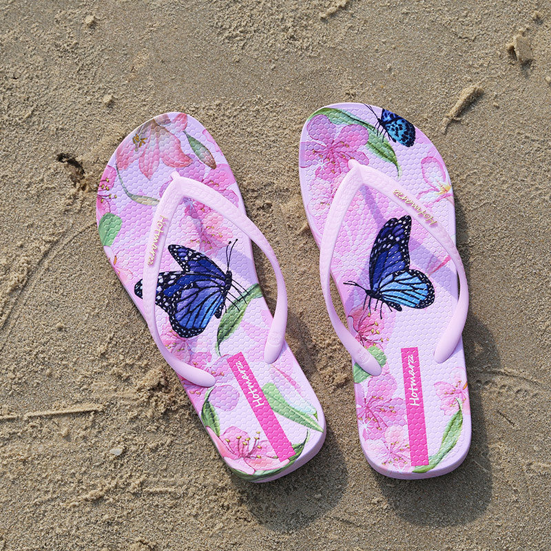 Hotmarzz Women Beach Flip Flops Butterfly Floral 2017 Summer Fashion Slippers Ladies Comfy House Shoes Woman Home Flat Sandals