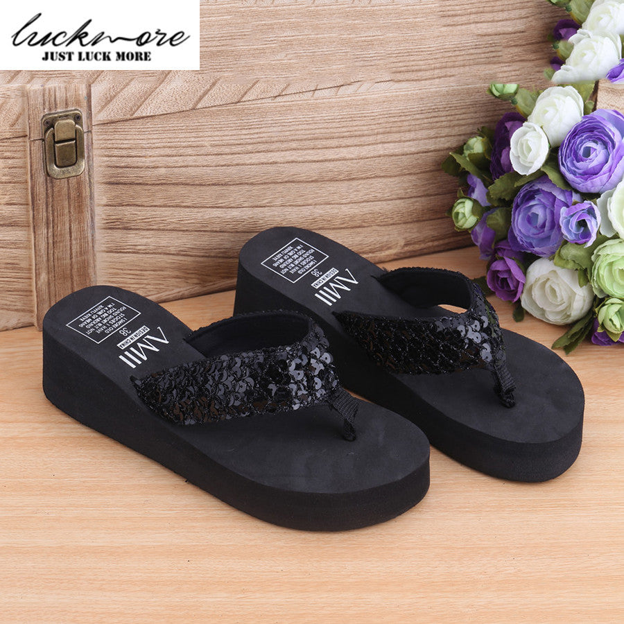 2017 Summer Women Sandals Woman Wedges Shoes Fashion Ladies Slippers Platform Flip Flops Designer Slides Beach Shoes pantufa