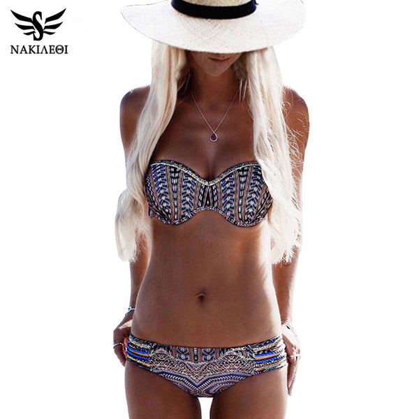 NAKIAEOI Bikinis Women Swimsuit Push Up Swimwear Women 2017 Sexy Bandeau Print Brazilian Bikini Set Beach Bathing Suit Swim Wear