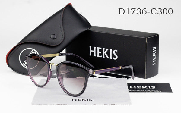 HEKIS Cat Eye Sunglasses Women Vintage Sun Glasses Ladies Retro Luxury Brand Designer For Female Photochromic Oculos de D1736