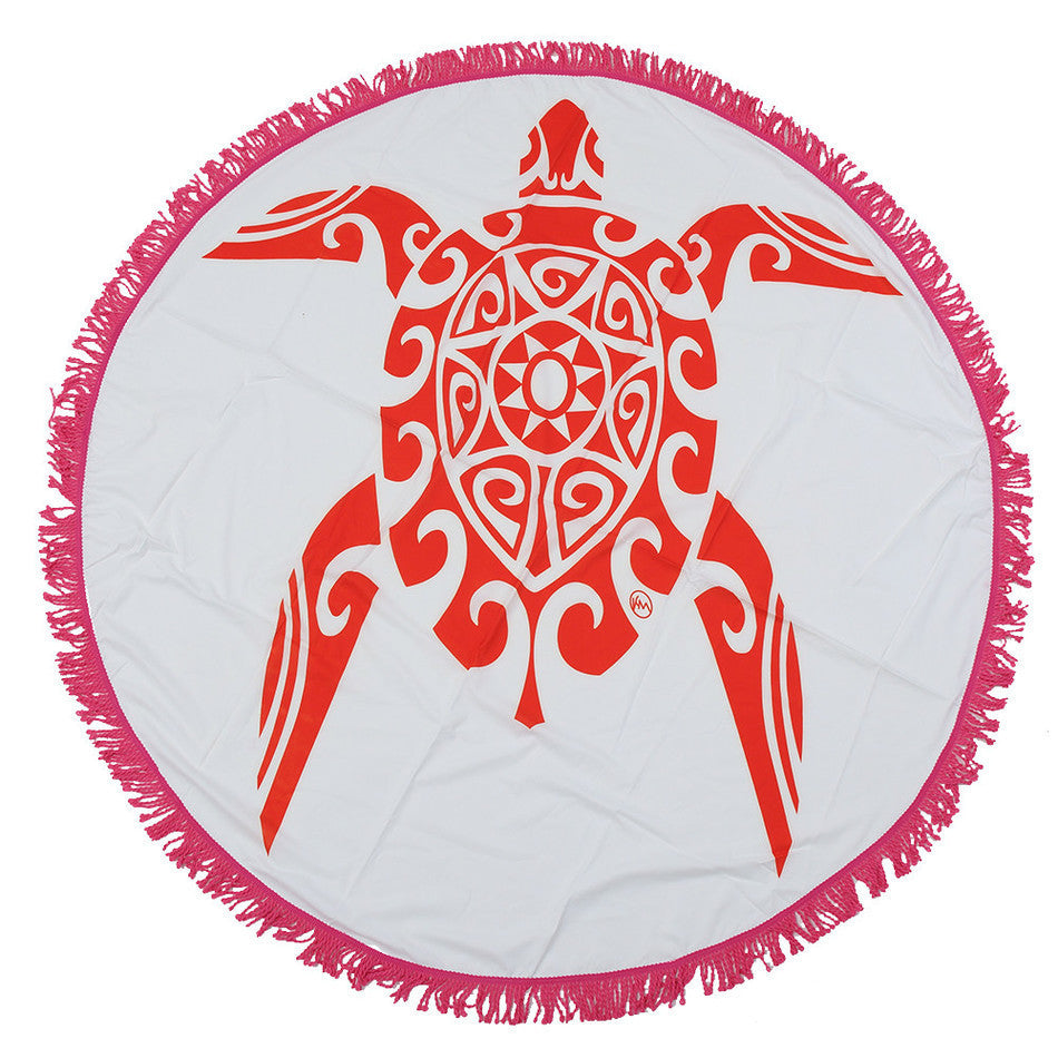 Red Turtle Round Mandala Beach Towel