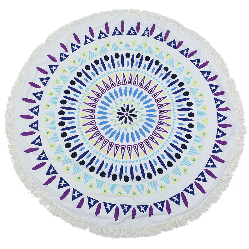 Blue Dots Mandala Beach Towel