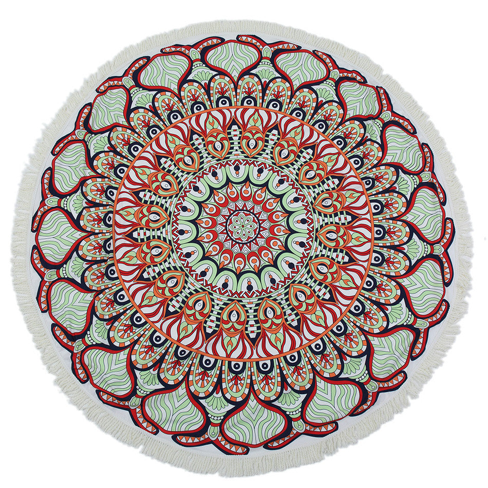 Red Mandala Beach Towel