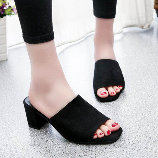 2017 Fashion Female Slippers Flock Sandals Summer Shoes Women Mules Ladies Flip Flops Pink High Heeled Slides Shoes alpargata