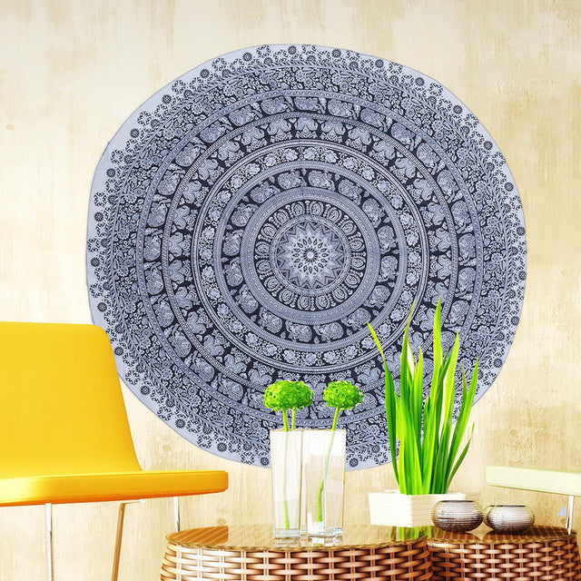 Bohemian Round Beach Towels Indian Elephant Pool Home Shower Towel Blanket Table Cloth Mat Dorp Shipping