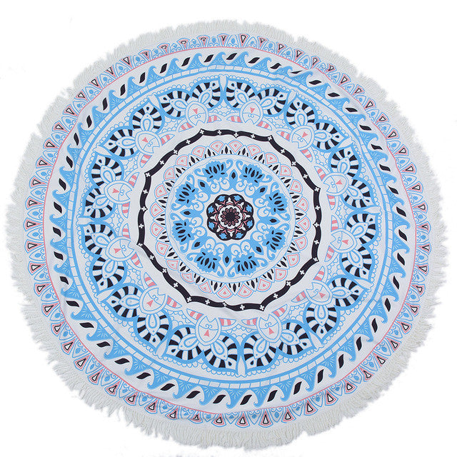 Blue wreath Round Mandala Beach Towel Tassel Fringing Beach Throw Round Mat Table Cloth Wall Tapestries Polyester 150x150cm