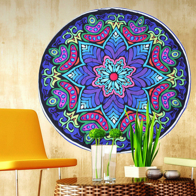 Portable Multifunction Shawl Sunscreen Beach Towel Wrapped Beach Mat Wall Bohemian Mandala Round Beach Tapestry Hippie Blanket