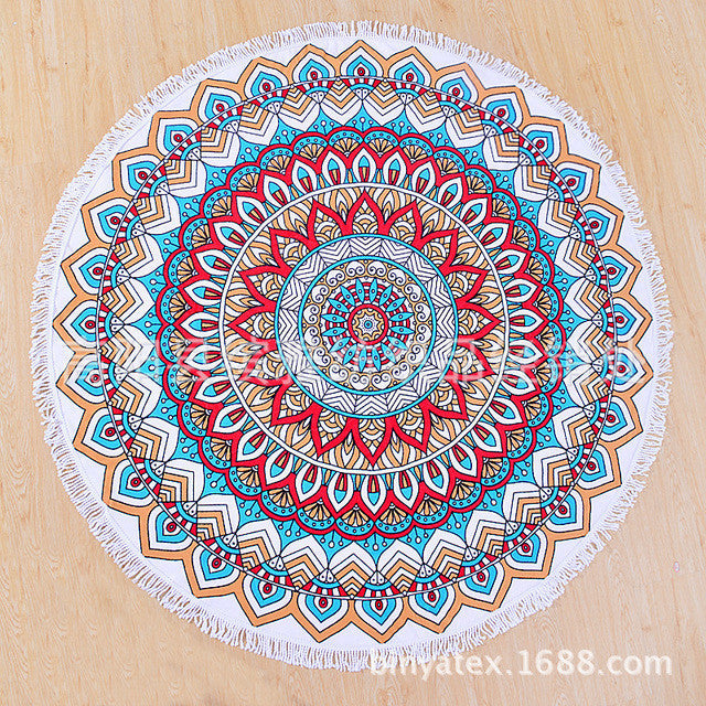 Superfine Fiber Elastic Round Beach Towel Serviette Plage Adulte  With Tassels Microfiber Large Reactive Printing Beach Towels