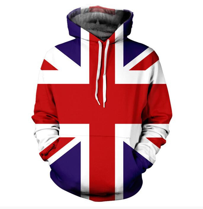UNION JACK 3d Print HOODIE With Pocket Fashion Clothing Jumper Outfits Tops Hoody Sweatshirts Hoodies Sweats For Women Men