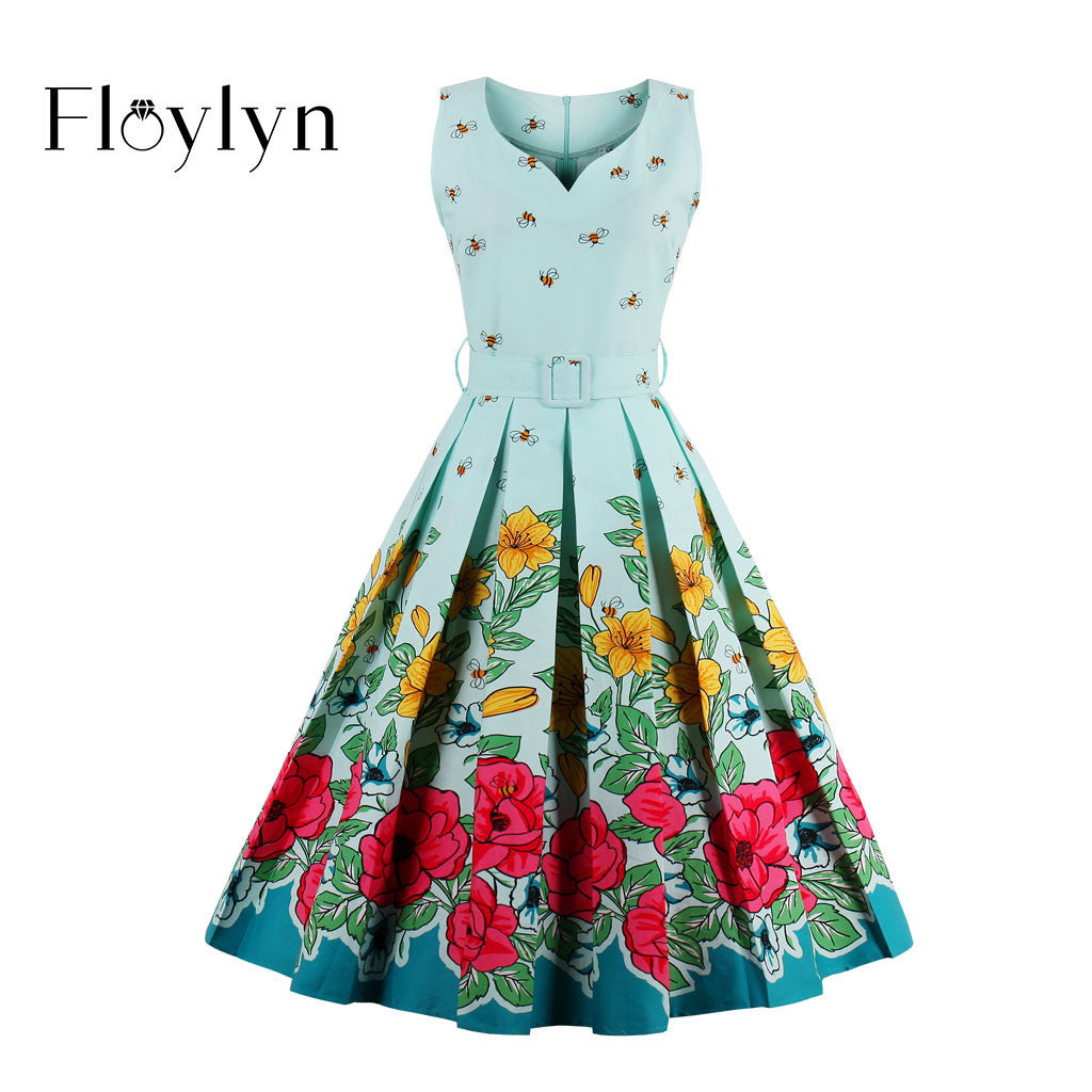 Floylyn 2017 Floral Bee Print Vintage Dresses Style 1950s Cute Party Dress with Sashes Summer Dress Sleeveless Vintage Dresses
