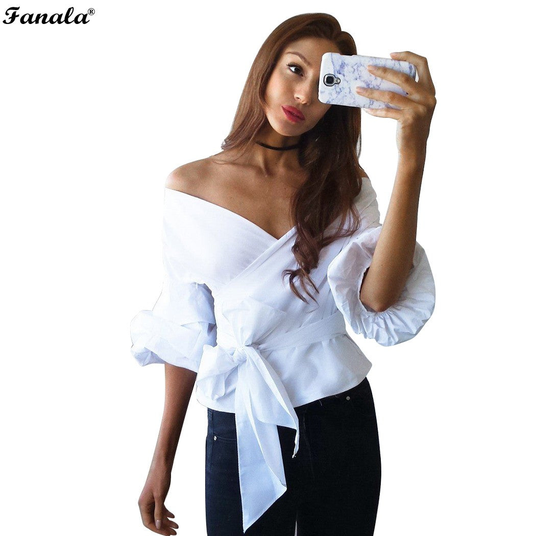 FANALA Women's Shirt 2017 Blouse Summer Top Deep V Neck Off Shoulder Pleated Puff Sleeve Cross Bandage Beach Shirt Blusas#30-20