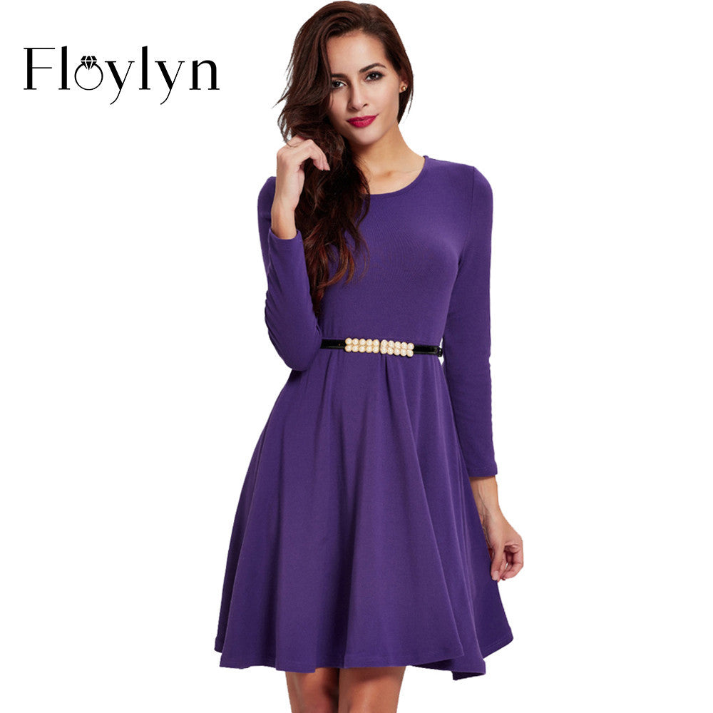 Floylyn Purple Spring Summer Elegant Vintage Women Dresses