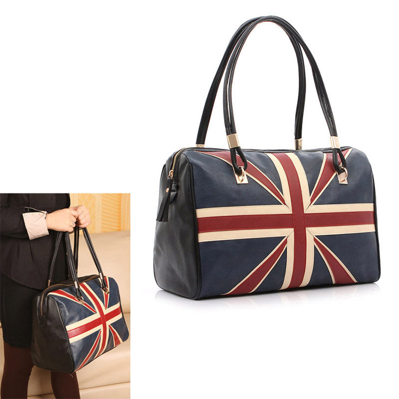 New Fashion Women's British Style Union Jack UK Flag Leather Handbag Shoulder Big Bag Vintage Bags  BS88
