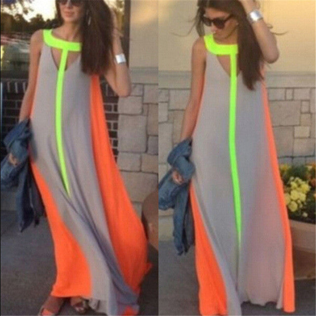 New 2017 Boho Women Summer Maxi Dress Fashion Sleeveless Contrast Color Beach Party Long Dresses Casual Loose Vestidos Plus Size