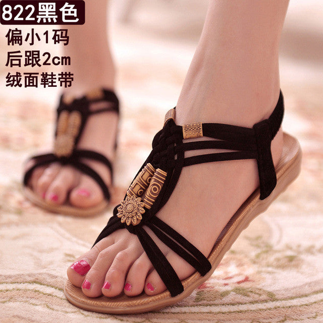 Women Sandals 22 Styles Bohemia Shoes Woman Gladiator Women Shoes Ladies Shoes Flip Flops Summer Flat Sandalias Mujer Beige