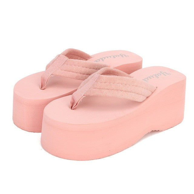 NIS 2017 High Heel Flip Flops New Fashion Women Non-slip Platform Wedges Sandals  Lady Summer Waterproof Beach Slippers