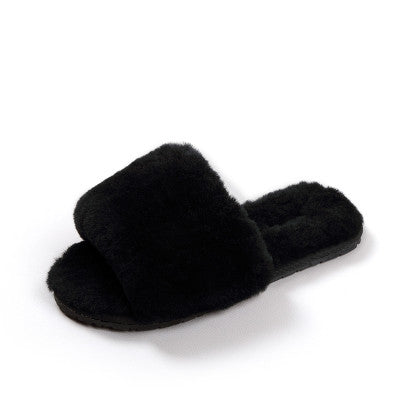 Natural Sheepskin Slippers Fashion Winter Open Toe Women Indoor Slippers Fur Warm High Quality Wool Soft Plush Lady AWM210-1
