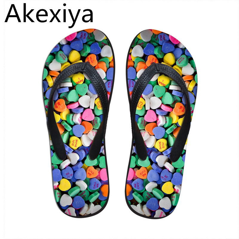 Akexiya Women Sandals Summer Style Shoes Beach Flip Flops Candy Print Sandals Wear-resistant Designer Shoes Ladies Sandals