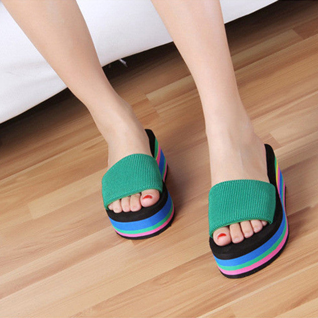 2017 Summer Woman Shoes Black Ladies slides Wedge bath slippers Platform Beach Flip Flops Women High Heel Striped Slippers MX