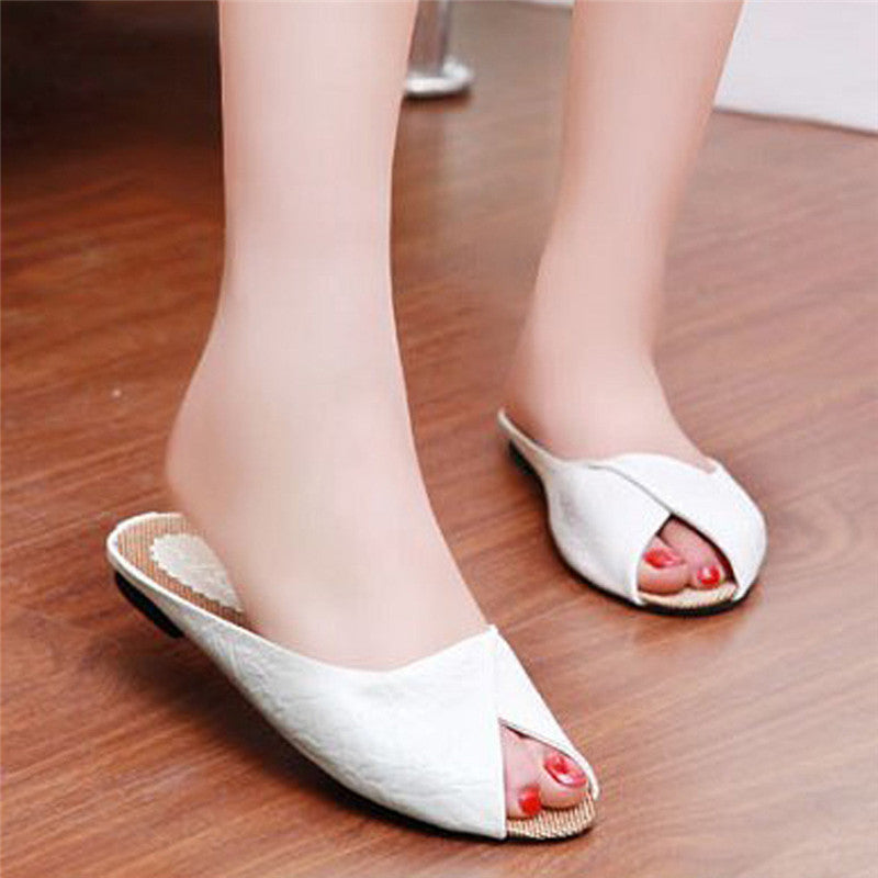 Fashion Women's Summer Flat Shoes Peep-toe Low heels Casual Shoes Simple Style Woman Comfor PU Ladies Flip Flops Slippers