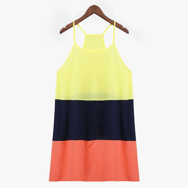 2017 Fashion Women Summer Dress O neck Sleeveless Patchwork Loose Casual Mini Dress Spaghetti Strap Beach Sundress Vestidos