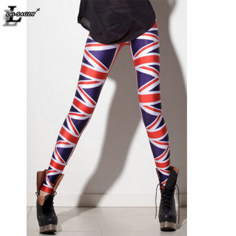 UK Flag Union Jack Digital Print Leggings Fitness Women Brand Clothes Fashion Gothic Creative Shape Slim Popular Pants BL-100