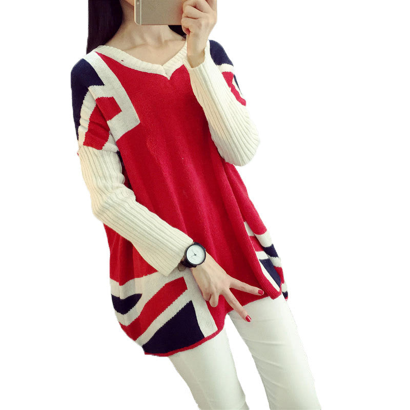 Winter autumn Korean red Union Jack thicker long bat sleeve wool sweater pullover women 2016 loose plus size mujer sweater coats