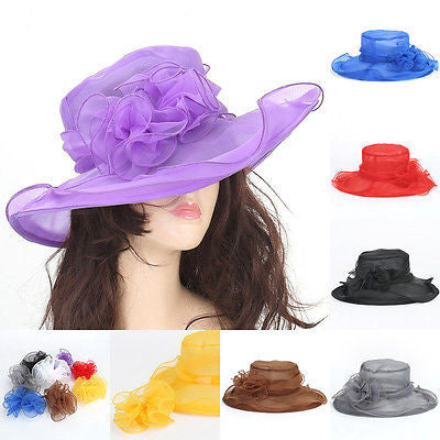 Women Dress Church Wedding Kentucky Derby Wide Brim Foldable Sun Hat Beach