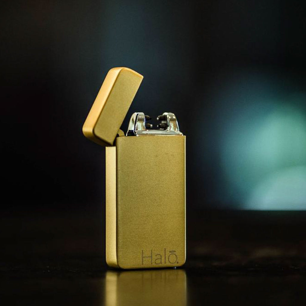 Matte Gold Electric Plasma Dual Arc Lighter