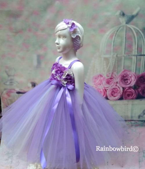 53d4d668124a Lavender & Ivory Tutu dress with Hydrangea flowers – Rainbowbird.in ...