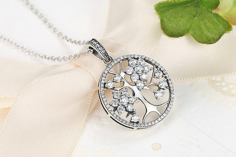 Classic  Sterling Silver Tree of Life Pendant Necklace With Cubic Zirconia Stones
