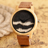 Two Tone Wood Quartz Watch with Leather Band - mytreestore