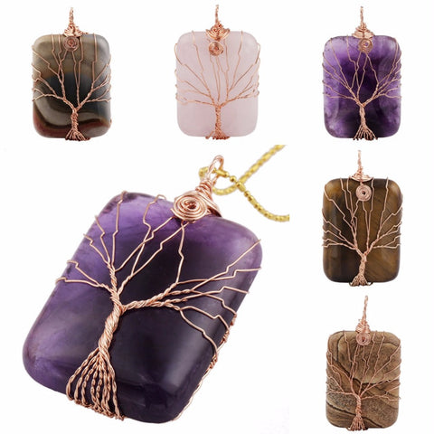 Rectangle Gem Stone with Copper Wire Wrapped Tree of Life