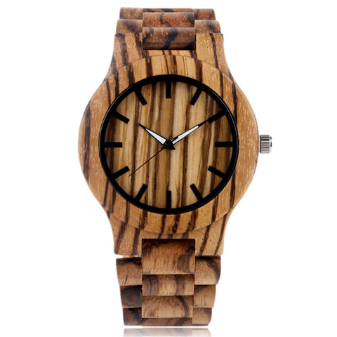 Bamboo Quartz Watch With Stripe Pattern