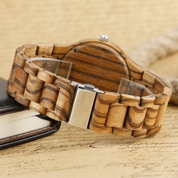 Bamboo Quartz Watch With Stripe Pattern - mytreestore