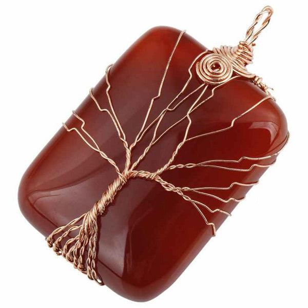 Rectangle Gem Stone with Copper Wire Wrapped Tree of Life - mytreestore