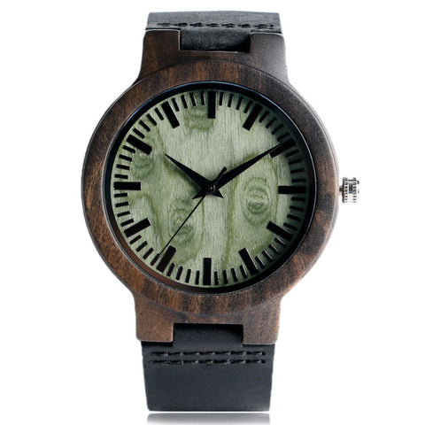 Genuine Leather Band Wooden Watch - mytreestore