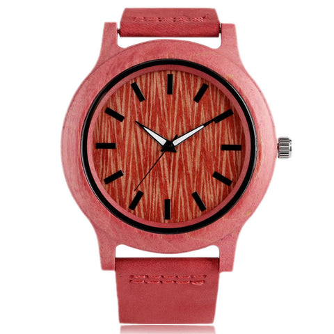 Ladies Bamboo Watch Genuine Leather Band