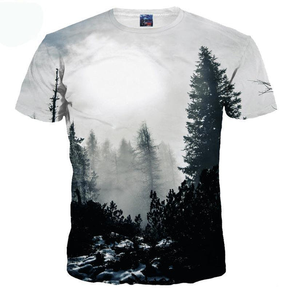 Men/Women T-shirt Print Winter Forest Trees - mytreestore