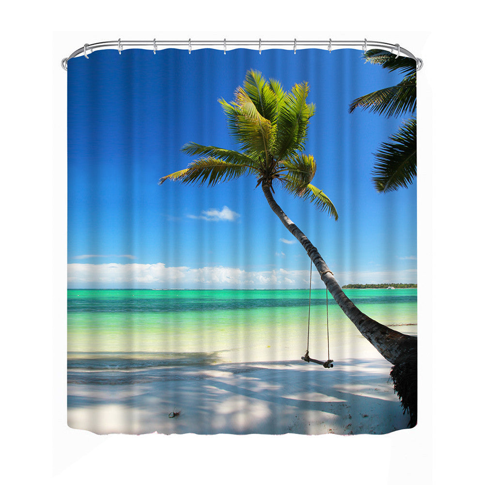 Bathroom Curtain with Coconut Tree Image. Two sizes available with shower hools