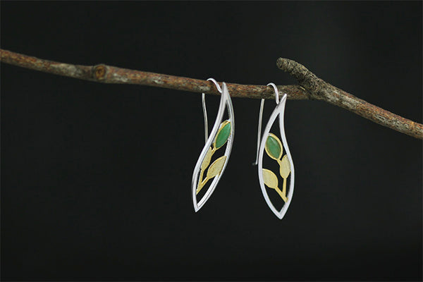 .925 Sterling Silver Natural Stone Handmade Leaves Drop Earrings - mytreestore