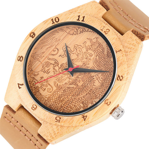 Handmade Bamboo Watch With Dragon Image