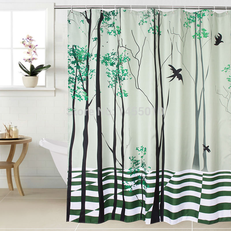 Countryside Tree and Swallow Waterproof Shower Curtain - mytreestore