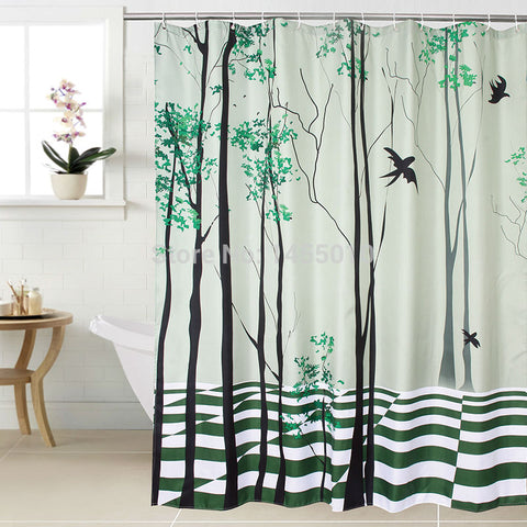 Countryside Tree Waterproof Shower Curtain