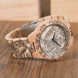 Wood Watch with Intricate Swirl Design MyTreeStore