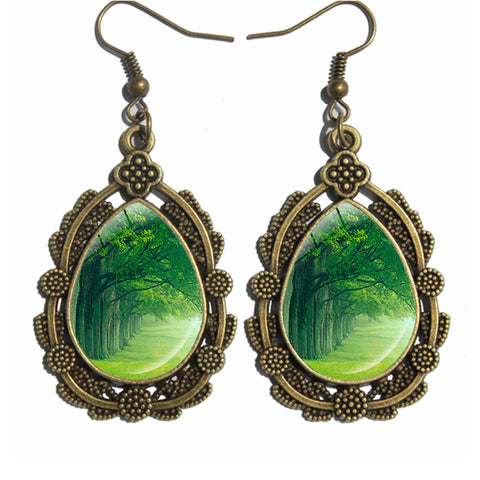 New Arrival! Antique Drop Earrings with Forest Image