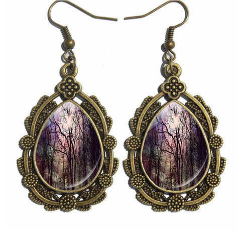 New Arrival! Antique Drop Earrings with Forest Image - mytreestore