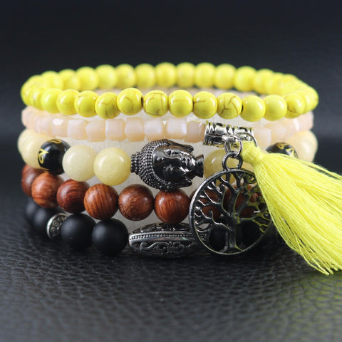 Yellow Tassel with Life Tree Charm - mytreestore